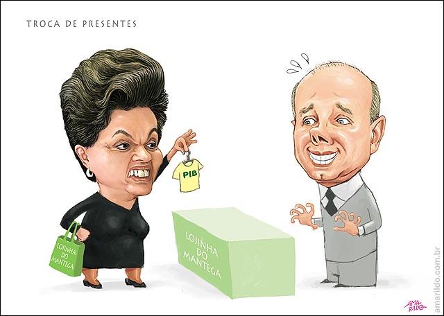 Dilma Mantega troca de presentes PIB pequeno camisa