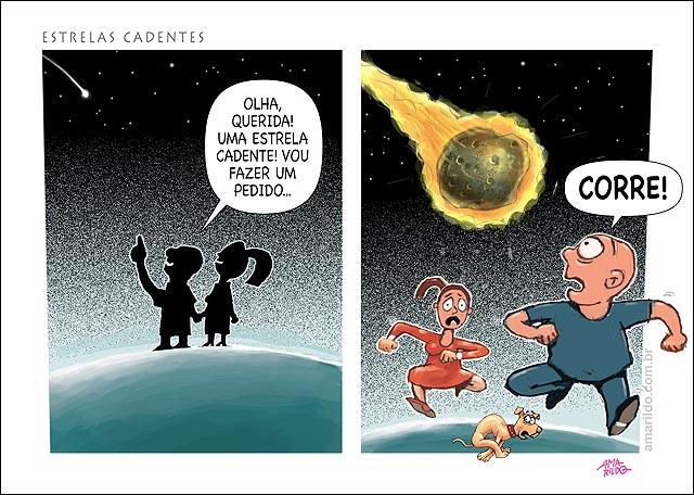 Cometas meteoritos estrela cadente caem do ceu homem mulher pedido correm