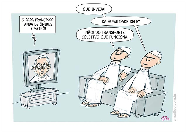 Papa Anda de metro e onibus padres inveja transporte