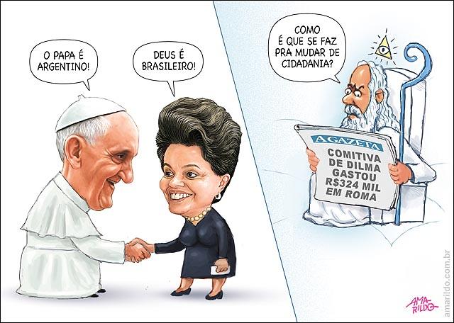 Dilma Cumprimenta papa francisco Deus Jornal Madar de cidadania