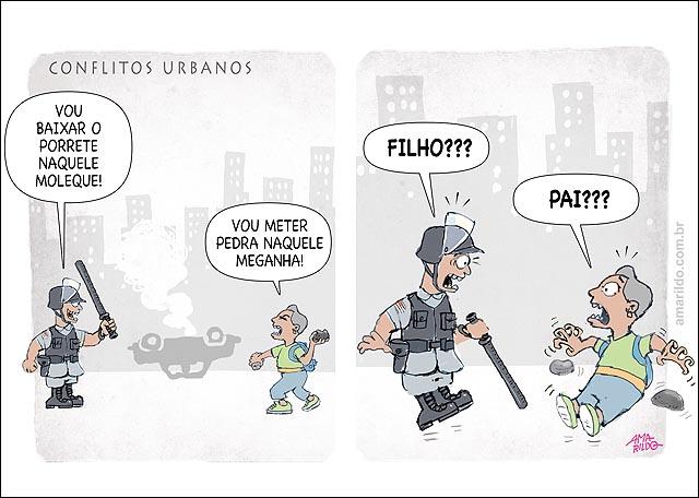 Policia x estudante Coflitos urbanos pai x filho