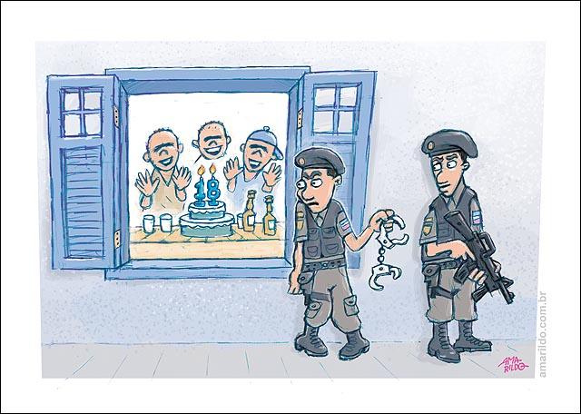 maioridade penal aniversario 18 anos policia espera arma algema janela bolo