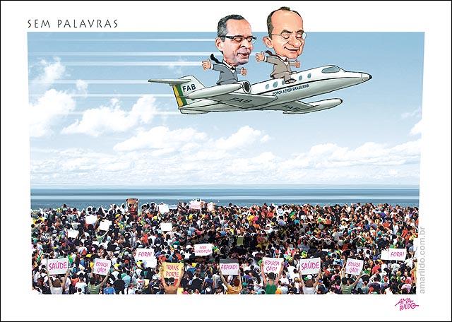 Aviao FAB Renan protestos
