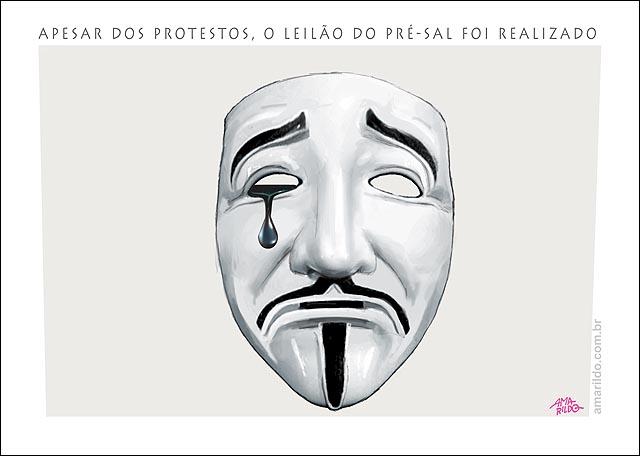 Pre-sal leilao libra petroleo mascara chora protestos 2