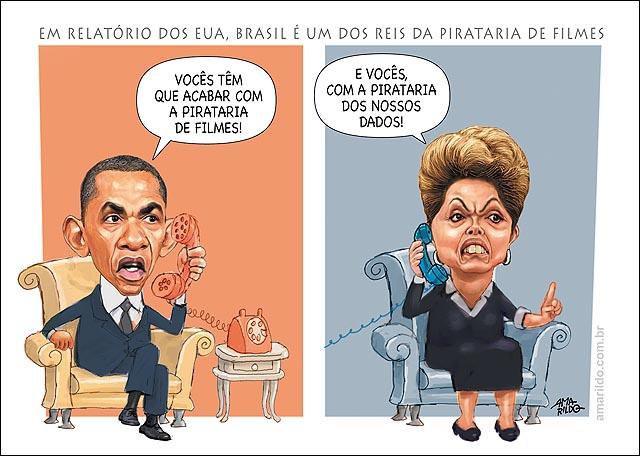 Obama Dilma Brasil rei da pirataria Eua Rei da espionagem