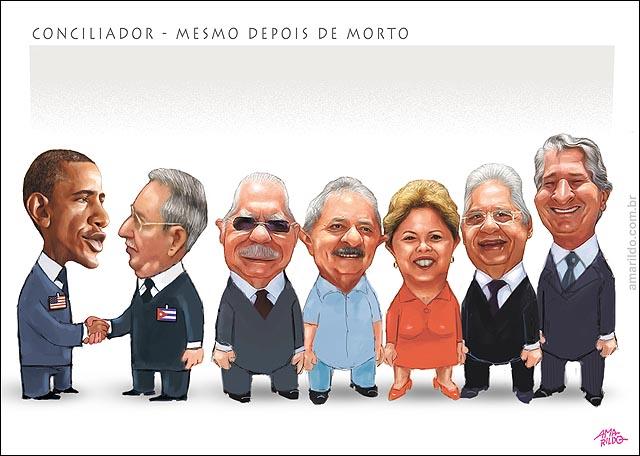 Presidentes Sarney Lula Dilma FHC Collor Obama Raul castro Enterro Mandela