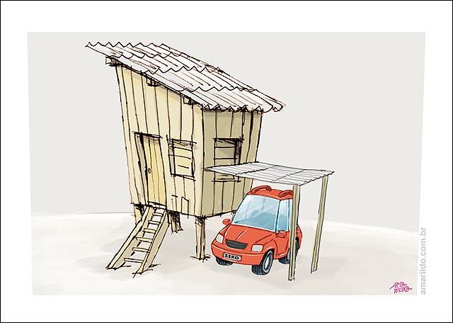 Favela, carro zero, garagem, pobreza