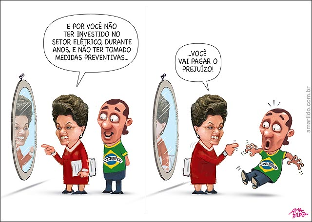 Dilma espelho vai dividir prejuizo do setor eletrico com consumidor culpado
