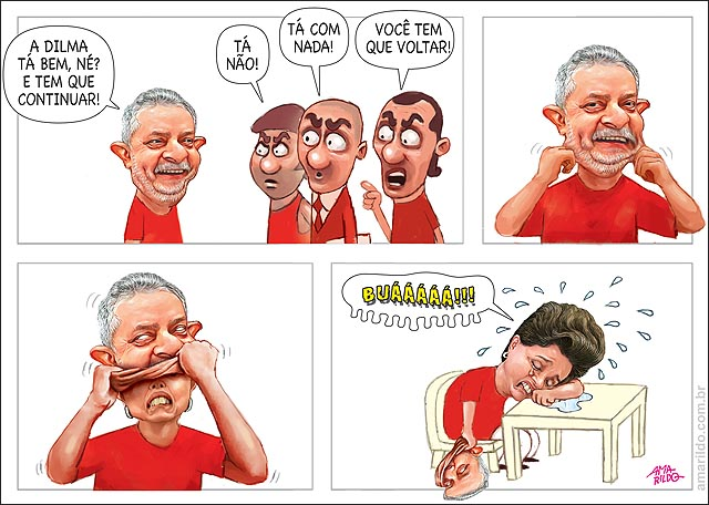 Dilma com mascara de lula Chora povo quer volta Lula