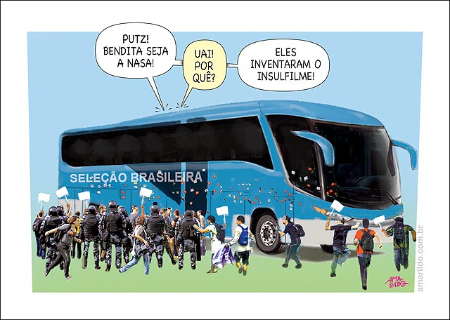 Onibus selecao azul protestos bendita nasa inventou insulfilm