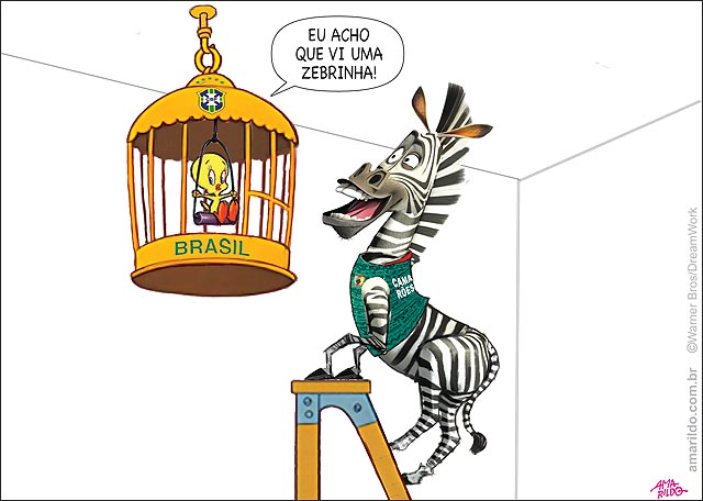 Selecao brasileira Piu piu e frajola zebra na escada