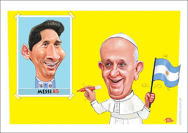 Papa Francisco Messi Messias caneta mao escreve cartaz
