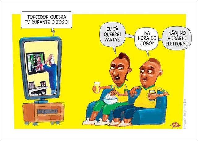 Homem quebra tv jogo do brasil x chile outro horario eleitoral