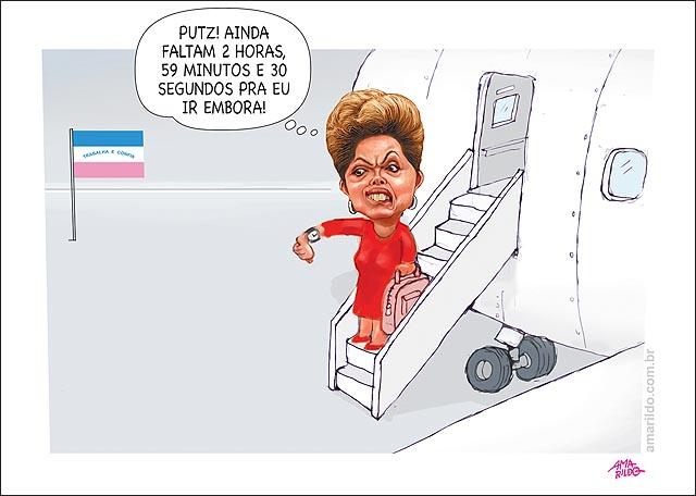 Dilma visita es 3 horas desembarque aviao faltao 2 horas para ir embora