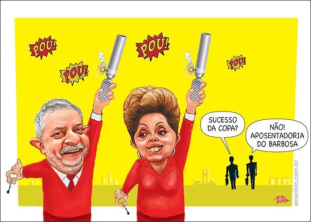 Lula dilma foguete comemora saida de Joaquim barbosa nao jogo selecao
