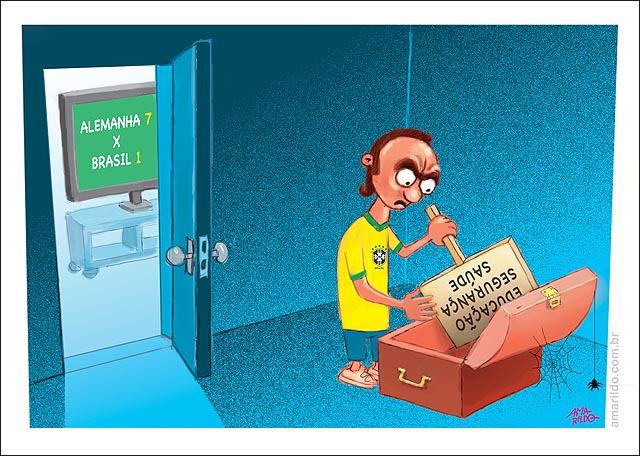 Brasil perde para alemanha torcedor pega placa saude educacao saude transporte bau