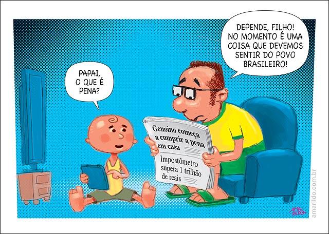 Genoino cumpre pena em casa impostometro 1 trilhao pena dos brasileiros TV sofa jornal crianca