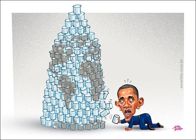 Obama puxa latinha de pilha e derruba mundo B