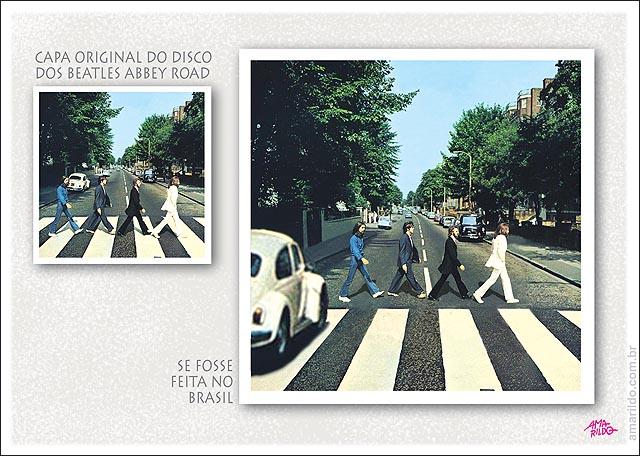 Beatles Abbey RoaD capa disco feita no Brasil faixa pedestre transito