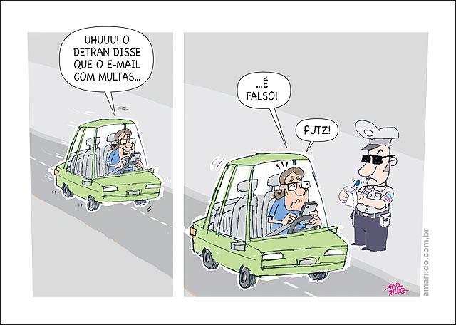 Motorista dirigindo celular guarda multa emeil com multa falsa detran B