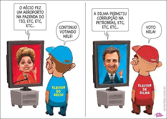 Eleitor do aecio x eleitor de dilma xingando vendo TV nao mudam nada
