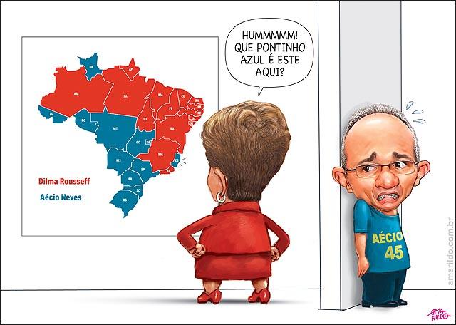 Resultado eleicao presidente aecio x dilma mapa brasil es azul dilma costas HARTUNG COM MEDO