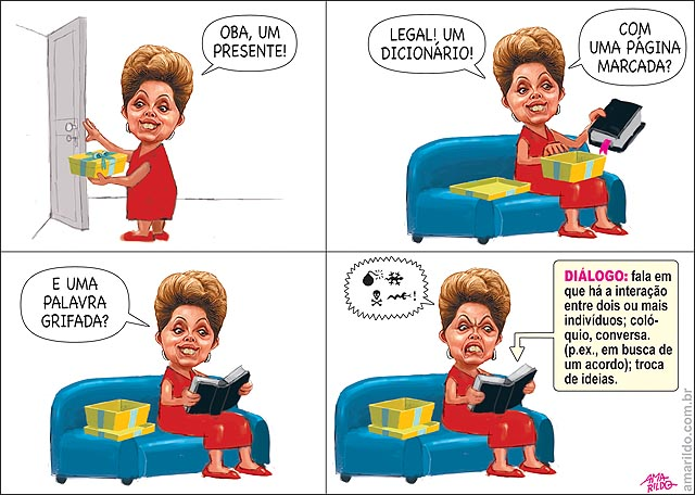 Dilma presente dicionario livro marcado palavra dialogo