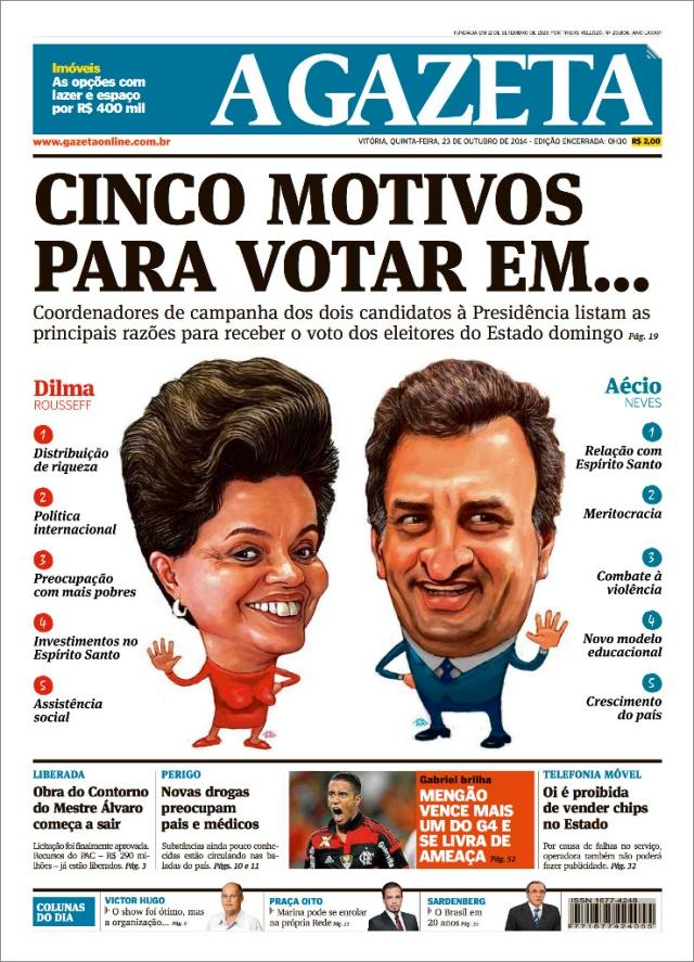 Dima x aecio caricatura capa do jornal a gazeta