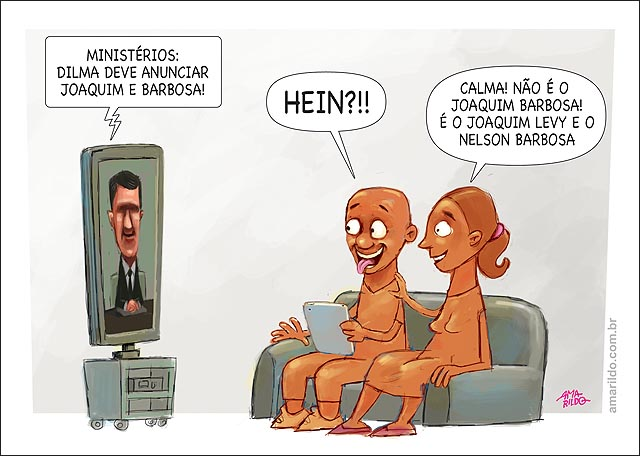 Dilma Ministerios Joaquim levi e Nelson Barbosa tv jornal homem mulher