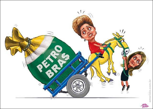 Dilma montada em burro carroca empinada petrobras
