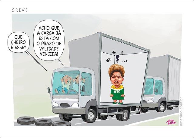 Greve dos camionhoneiros dilma carga perecivel com o prazo de validade vencida estrada caminhao