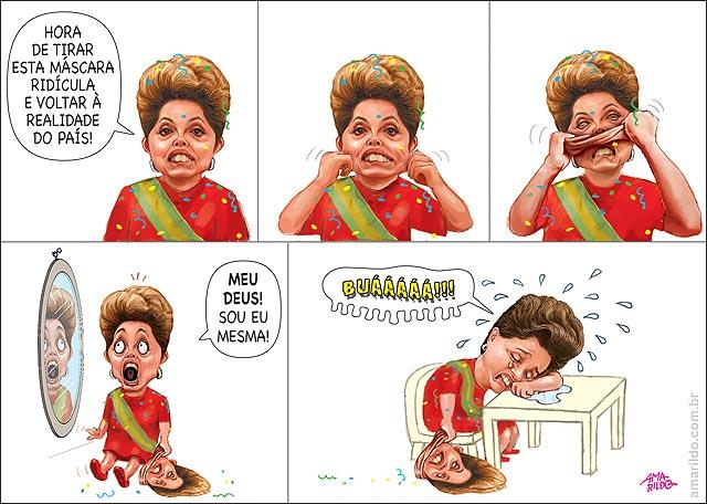 Dilma tira mascara de dilma e aparece dilma chora c