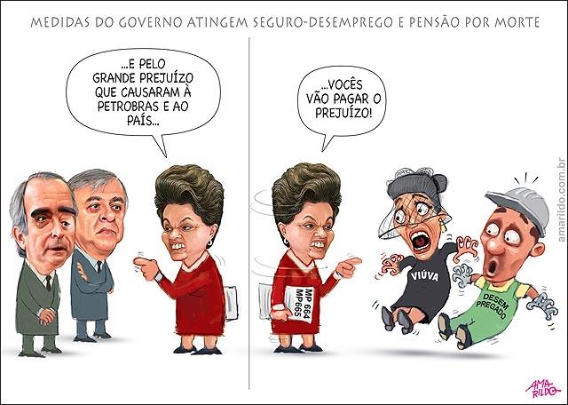 Dilma aponta dedo Petrobras fraudadores e cumpa vuivas e aposentados mp 664 665 Beneficios seguro desemprego pensao