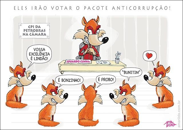 Cunha depoe na camara raposa elogiando raposa VOTAM PACOTE ANTICORRUPCAO