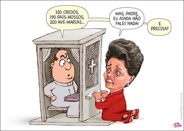 Dilma ajoelhada confessionario penitecia padre nao falou nada