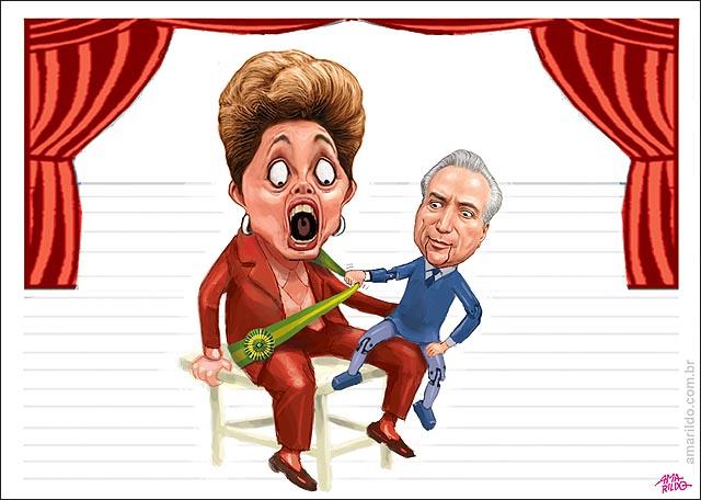 Dilma Temer fontoche Ventriloquo marionete Lula da banana