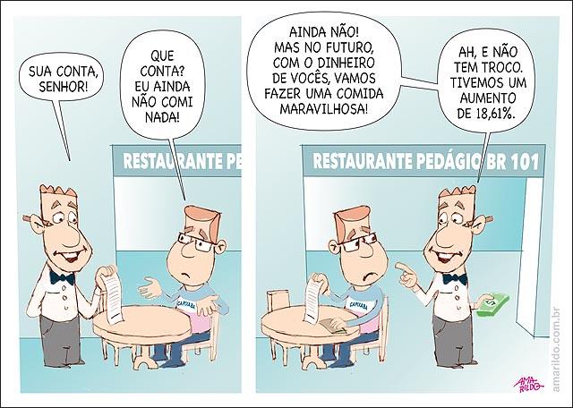 Pedagio Br 101 aumento restaurante conta sem comer