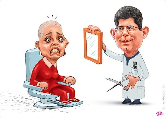 Dilma ajuste fiscal Levy corta cabelo barbearia tesoura salao barbeiro cabeleireiro maquina raspar careca