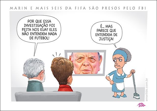 MARIN ex-presidente da CBF 6 da fifa sao presos pelo FBI tradicao em justica nao em fitebol Lula Dilma TV 2