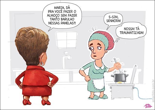 Dilma Panelaco empregada no fogao fazendo almoco para fazer menos barulho na panela