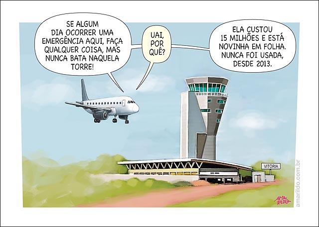 Aeroporto de vitoria Torre de 14 milhoes sem uso aviao piloto emergencia nao bater
