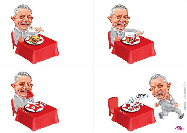 Lula cospe no prato em que comeu mesa PT