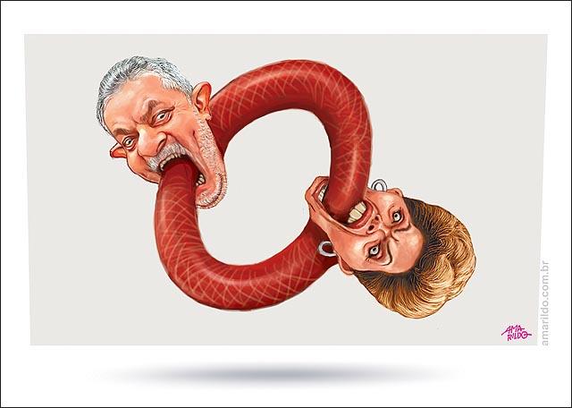 Lula engole dilma engole lula cobras Ouroboros