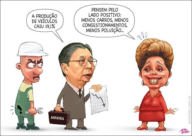 Dilma Producao9 de veiculos cai 19 pc pense pelo lado positivo menos engarrafamento e poluicao