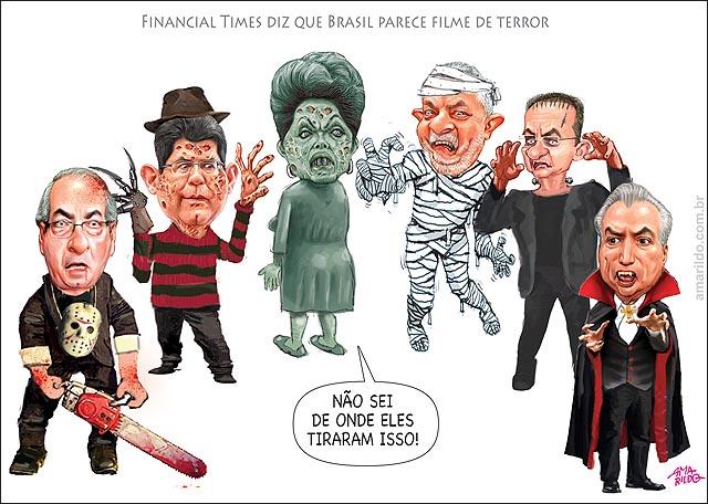 Brasil filme de terror jornal americano Dilma Exorcista Levi Fred Krugger Renan frankenstein Cunha Temer Lula brinquedo assassino Jason Canibal.psd