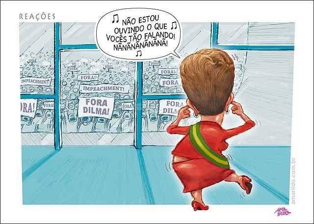 Dilma dedo no ouvido Dancando Protestos palacip planalto dentro nao estou ouvindo o que voces tao falando