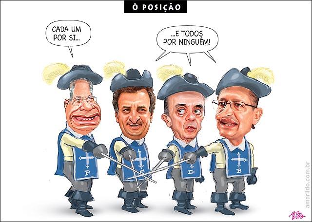 Resultado de imagem para serra, aecio e alckmin, charges