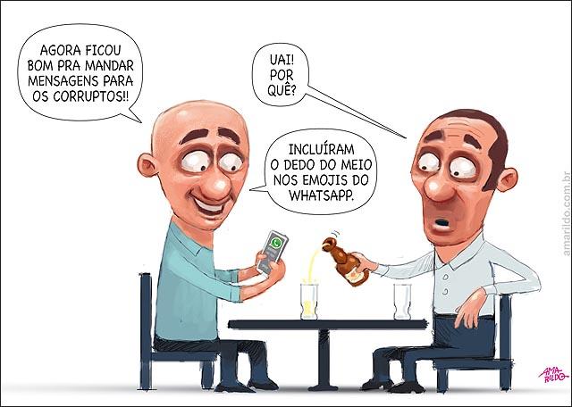 WHATSAPP emoticon com dedo do meio para politico corrupto mesa bar celular