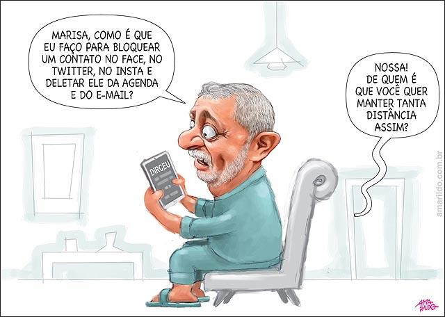 Lula quer apagar conatos de dirceu do celular do face twittwr instagram e email. sofa tv marisa