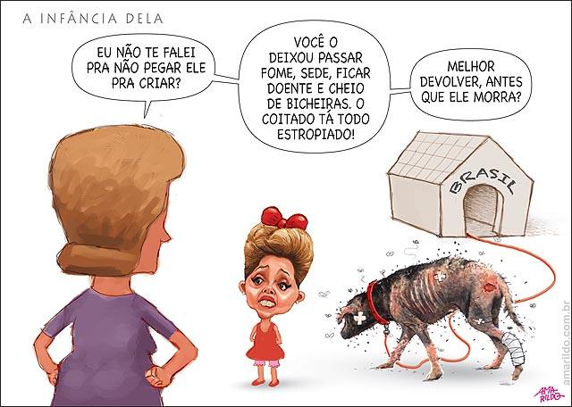 Dilma crianca Mae Cachorro Brasil sarnento doente vai morrer nao cuida